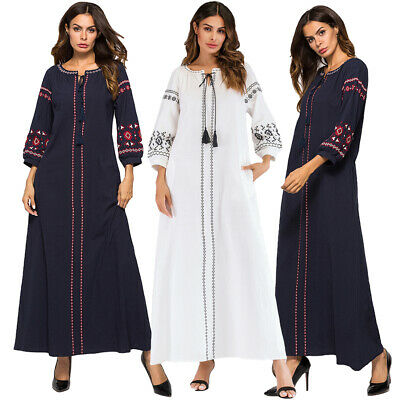 Vintage Women Embroidery Kaftan Long Maxi Dress Muslim Abaya Cocktail Robe Gown