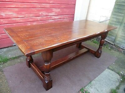 Large Farm House Antique Style Oak Dining Table / Kitchen Table, 8 / 10 Seater.