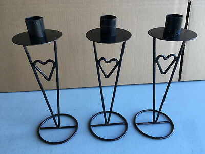 Trio of heart design black metal single dinner candle holders lot E181118M