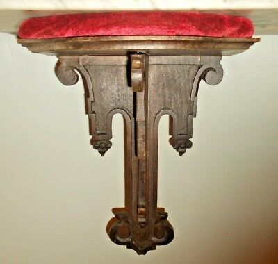 ANTIQUE HAND CARVED WOODEN WALL BRACKET~SHELF with PADDED RED VELVET TOP