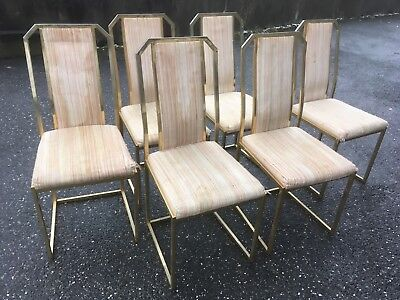 Lot 6 chaises design style Roméo Rega ? Laiton chrome 70/80