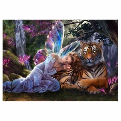 """Full Square Drill 5D Diy Diamond Painting """"Butterfly Fairy Tiger"""" 3D Embroi Q0L4"""