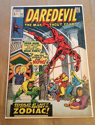 Daredevil # 73 - Iron Man Team-Up Vs Zodiac / Nick Fury App - Marvel 1970