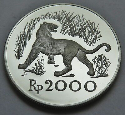 2000 RUPIAH 1974 INDONESIA , TIGER , SILBER .925 PROOF , 38.6 mm , = 28.4 g