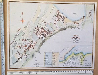 """Old Antique colour map of Bangor, Wales: 1800's, 1834: 12"""" x 9.5"""" Wood: Reprint"""