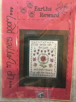 Up in Annies Room Earths Reward Embroidery Pattern with ceramic button
