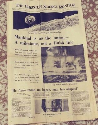 Man On Moon Christian Science Monitor Newspaper July 22 1969 FREE SHIPPING
