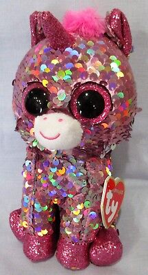 "SPARKLE - PINK UNICORN - Ty FLIPPABLES Sequin Beanie 6"" Boos  NEW with MINT TAGS"