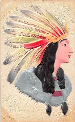 Rare Antique  Lady in Headress Silk AIRBRUSHED Postcard -k726