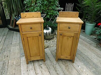Gorgeous Matching Pair Old Antique Pine Bedside Cabinets/ Cupboards. We Deliver!