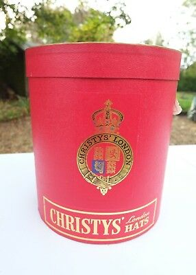 SUPERB VINTAGE CHRISTYS LONDON RED HAT DISPLAY BOX trilby top horse racing