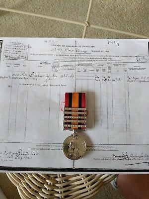 British South African medal, 5 clasps to J. Kelly, Imperial Yeomanry