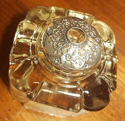 Ornate Vintage Antique Sterling Silver B&B 1036 Glass Inkwell Not Scrap (Lot 12)