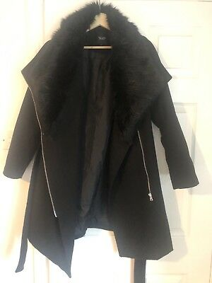 new look black heavy maternity coat size 8