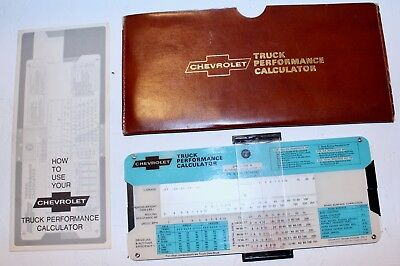 Vintage CHEVROLET TRUCK  PERFORMANCE CALCULATOR (DATED 1970)