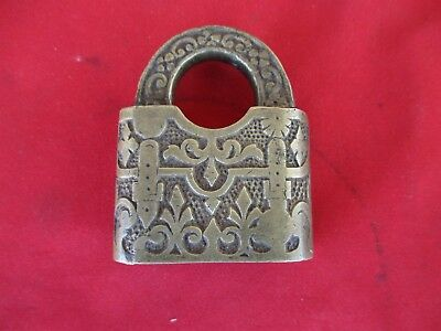 AWESOME Antique Fancy Ornate Brass Padlock Vintage Hardware (1381)