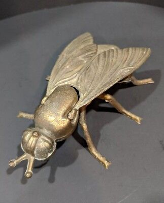 Vintage Metal Hornet Wasp Bee Fly Bug Insect Ashtray Brass Finish
