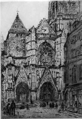 John Marin Etching La Cathedrale de Meaux Retired Dealer Selling Off Collection