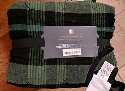 Hearth & Hand Magnolia Black & Green Quilted Plaid 52in Christmas Tree Skirt NEW