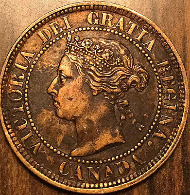 1884 CANADA LARGE CENT QUEEN VICTORIA LARGE 1 CENT COIN PENNY - Obv# 2 variety