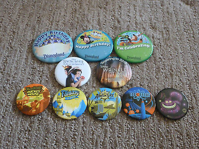 Lot of 10 Disneyland Buttons Including Annual Passholder Exclusives