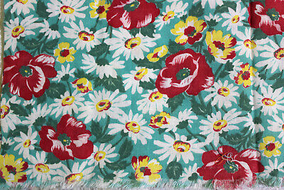 Floral Feedsack Lot of 3 white daisy yellow and blue gray Vintage fabric