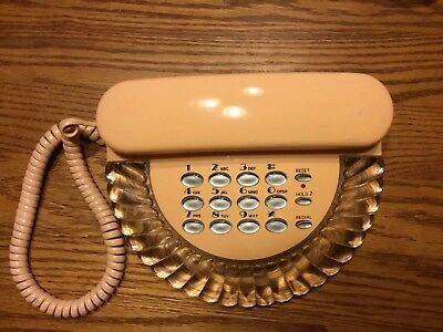 Vintage Telephone Columbia Shell Corded Desk Landline Peach Push Button WORKS
