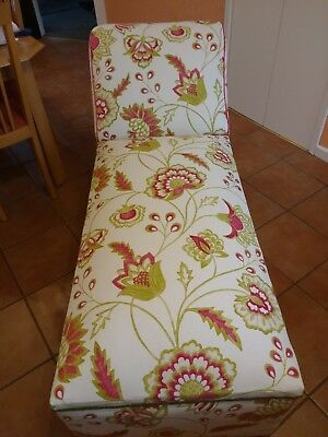 Chaise Longue/Lounge Day Bed, Reupholstered. White/Pink/Green Harlequin design