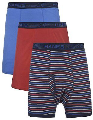 Hanes Men's 3-Pack Tagless 100% Cotton Boxer Briefs with X-Temp and FreshIQ...