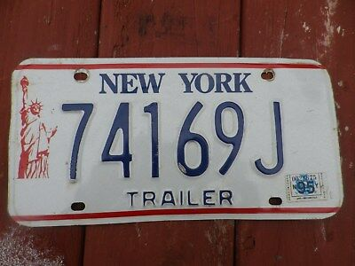 New York Statue of Liberty license plate #74169J for trailer with '95 sticker