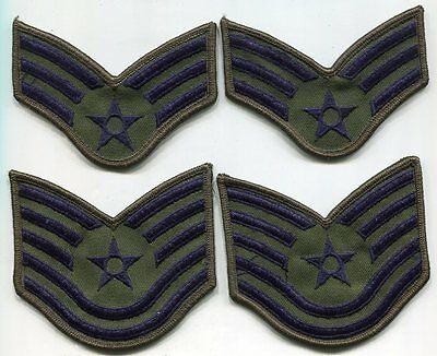 USAF 2 Pairs Sergeant Stripes US Air Force Ensignia Blue & Green