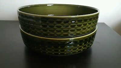 Vintage Myott made in england Green basketweave serving dishes x2  -  21cm dia
