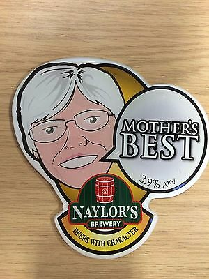 """Thick Plush """"Mother's Best"""" Beer Pump Clip: Naylor's Brewery NEW"""