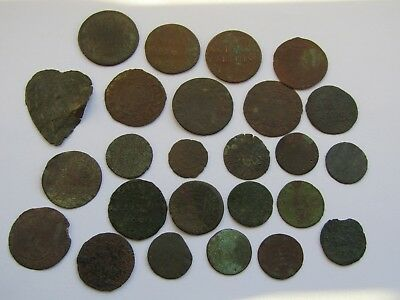 *x25 1600s 17TH CENT. LOW GRADE BRITISH HALFPENNY FARTHING TRADE TOKEN* DETECTOR