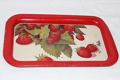 Vintage Retro Tin Metal Serving Tray Red Strawberry Green Leaves Design