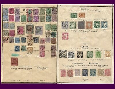 India Bhopal British Dhar Sirmoor Travancore Value Selection On Album Pages 0017