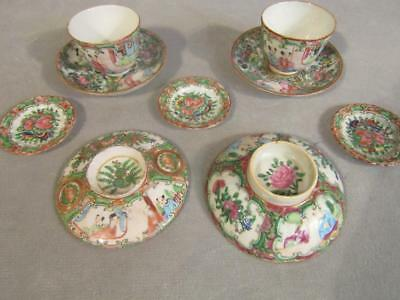 Lot Of Antique Chinese Rose Medallion Cups; Saucers, Covers; Butter Pats