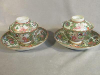 Pair Antique Chinese Export Rose Medallion Covered Cups & Saucers / Rice Bowls