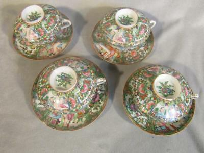 Set 4 Antique Chinese Export Rose Medallion Covered Tea Cups & Saucers