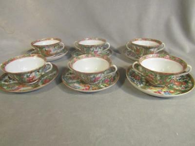 Set 6 Antique Chinese Rose Medallion Covered Soup / Bullion Cups - 2 Handled