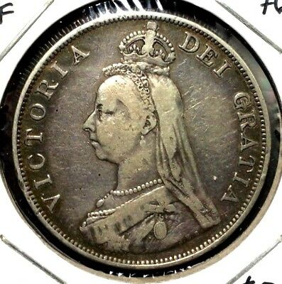 1890 Great Britain Double Florin Queen Victoria Silver  VF+ almost 1/2 Crown
