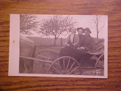 1910 Horse & Buggy Scene Family Rppc Real Photo Postcard Unposted Free Shipping