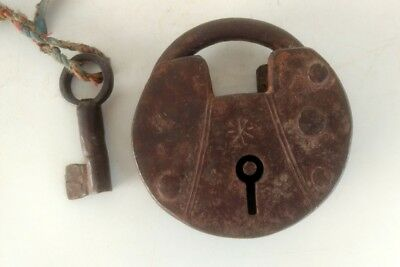 Vintage Old Indian Hand Forged Solid Iron Unique Round Shape Padlock With Key