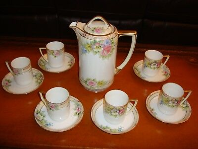 Nippon Hand Painted Chocolate Coffee Tea Set Pot &6 Cups, Flower Blossoms &gold
