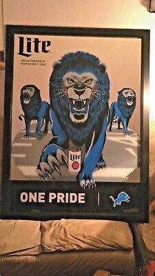 miller lite detroit lions one pride large football mirror