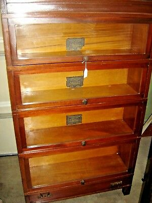 Antique Mahogany Globe Wernicke 4-Stack Bookcase Art Mission Bookcase ~  446