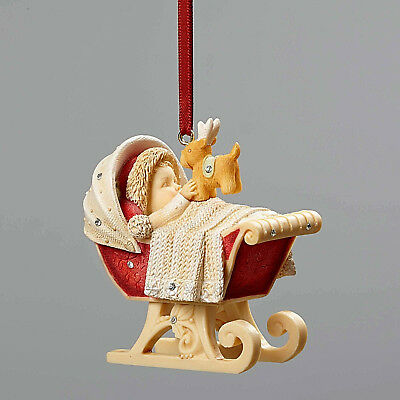 Heart Of Christmas~Baby's First Ornament~Diaper Dashing Sleigh Crib~Nib~4052793