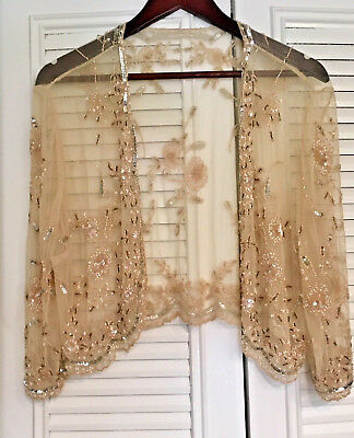 """Gorgeous! """"stenay"""" Exclusive Vintage Beaded/embellished Cover Up W/sleeves Sz:16"""