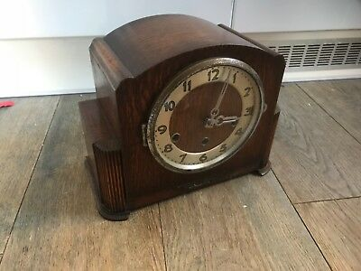 French Art Deco Wood 8Day Mantel Clock , Fully Working