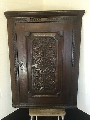 Dark Oak Antique Wall Hung Corner Cabinet - Good Condition - Beautiful Carving